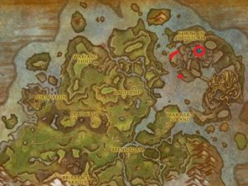 Shrine of the Storm's location on the World Map