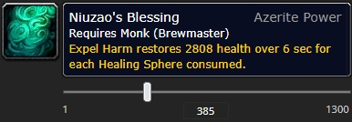 The tooltip of the Expel Harm azerite trait, Niuzao's Blessing, at item level 385