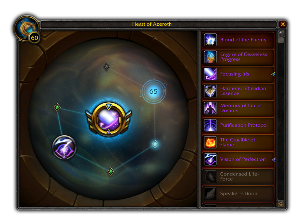 Blizzard's new Heart of Azeroth Trait Interface