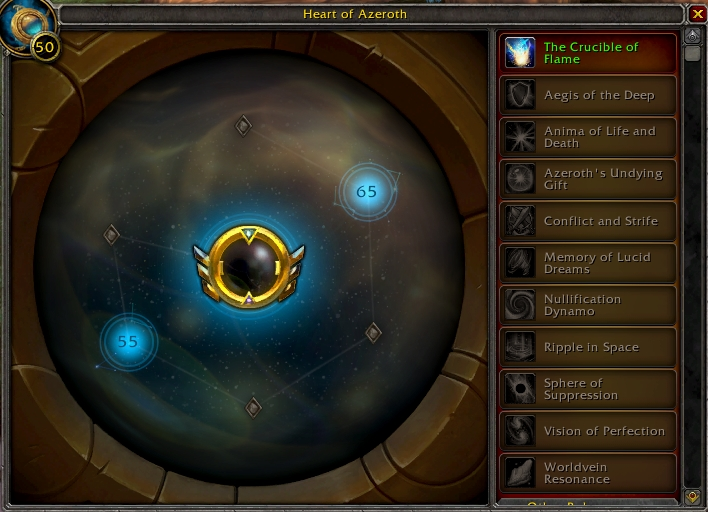 The new Essence Interface for the Heart of Azeroth in Patch 8.2, Tides of Vengeance