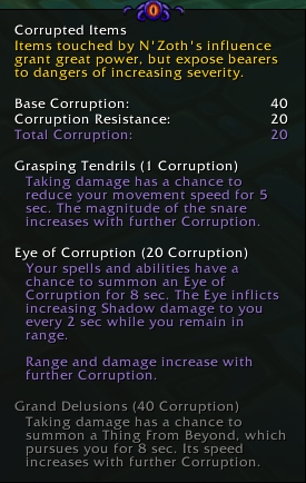the in-game tooltip of the corruption system new to Patch 8.3, Visions of N'zoth