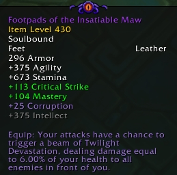 "The tooltip of a ""corruptforged"" item in Visions of N'zoth"