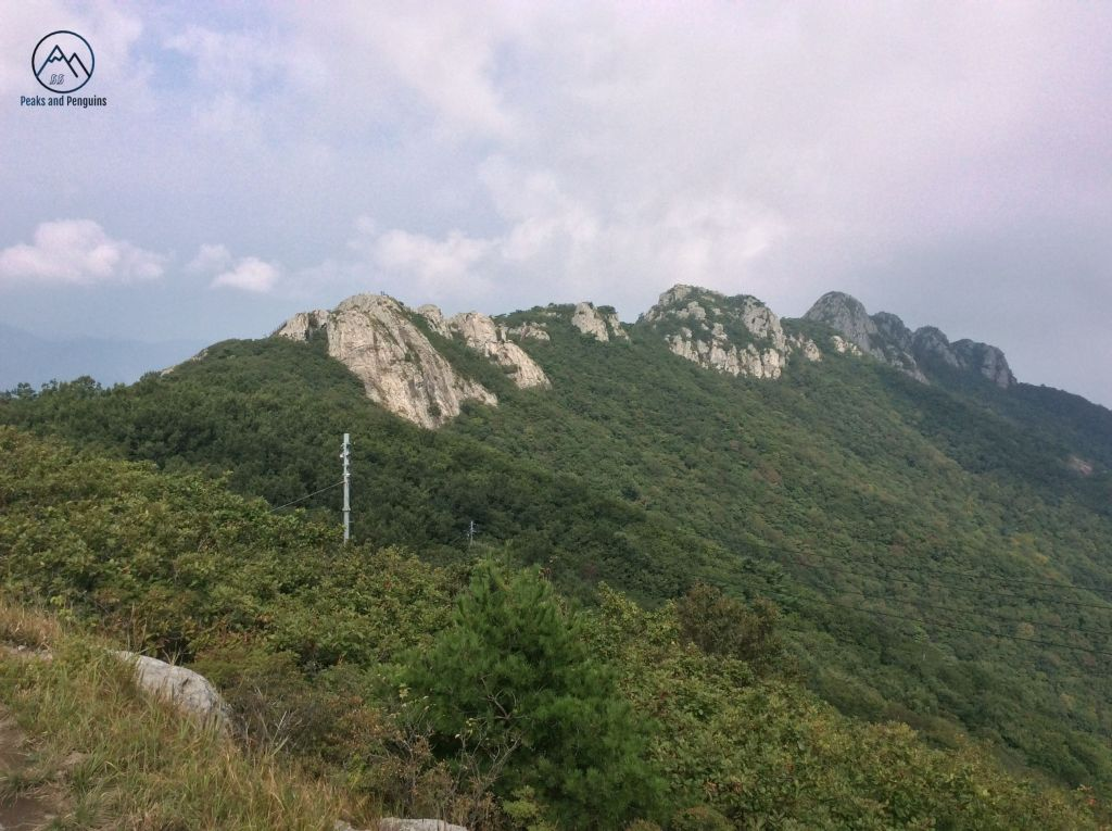 An image taken from Gitdaebong, looking back at the steep, rocky peaks rising out of the forest. Each peak is a distinct and separated from the others, separated by tracts of forest and steep cliffs.