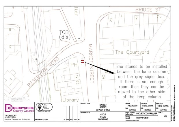 Plan showing two cycle stands outside The Railway pub in the centre of Whaley Bridge