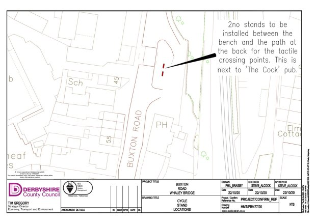 Plan showing two cycle parking stands on pavement near The Cock pub in Horwich End, Whaley Bridge