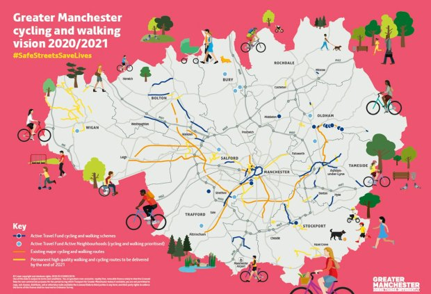 Map showing Bee Network cycling schemes to be completed in 2021
