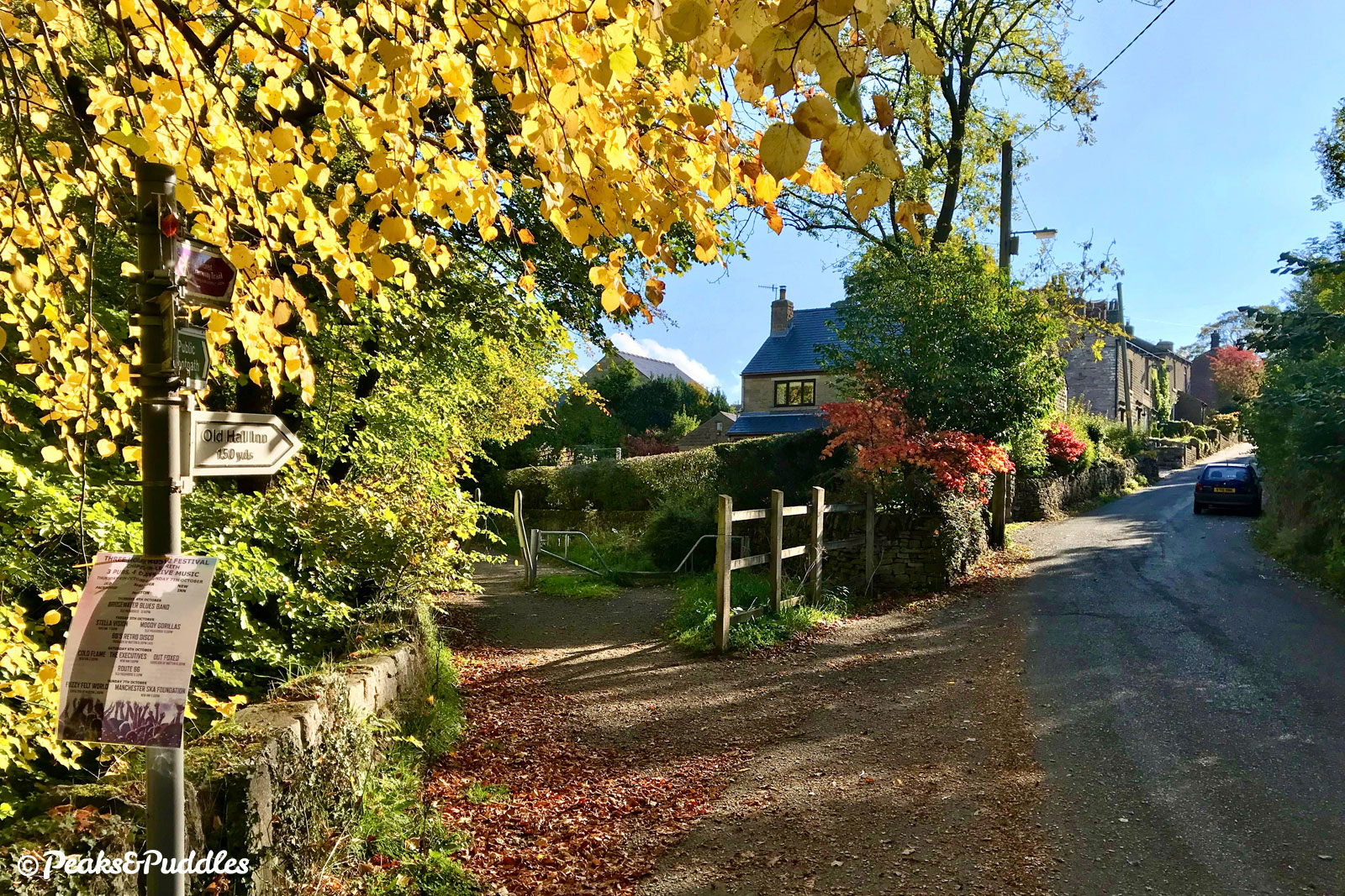 Crossing the first of two lanes up to the hamlet of Whitehough and its popular pubs, the trail is always scenic in autumn.