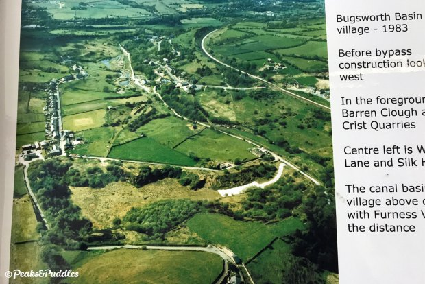 A fascinating photograph in the Bugsworth Basin Heritage Trust exhibit, looking over an abandoned Crist Quarry east of Buxworth village.