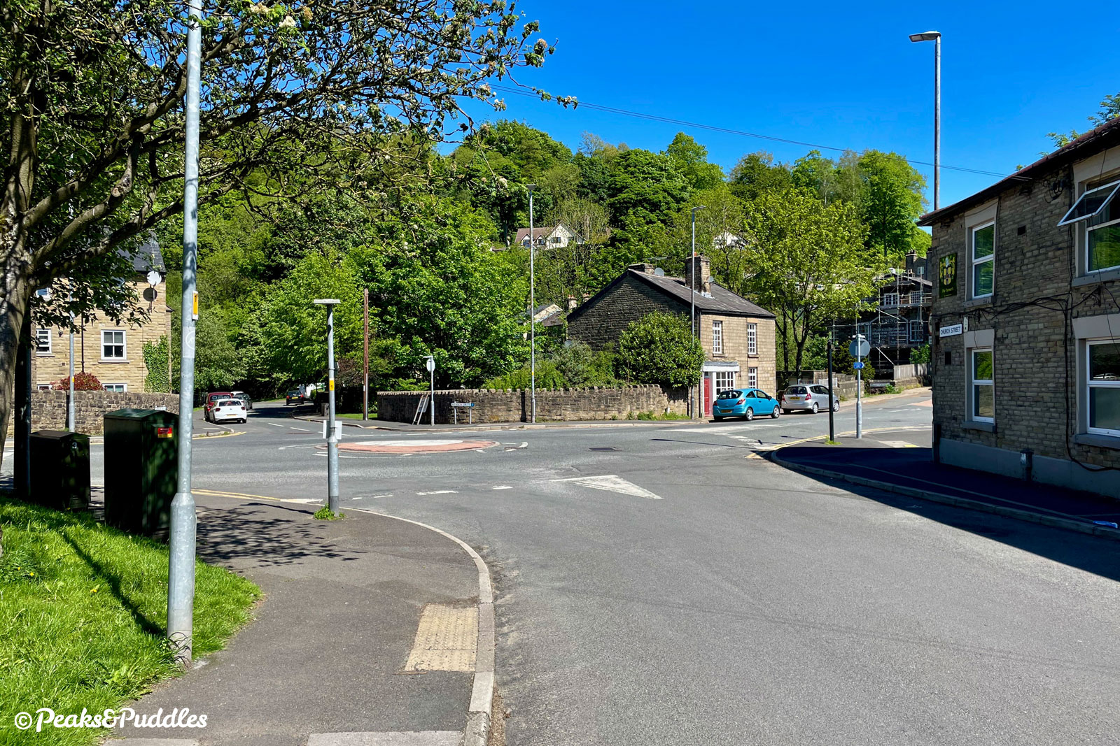 At the roundabout at the end of Church Street, turn right then immediately right again, into Ingersley Road. Be careful to go right around the roundabout, avoiding the raised centre.