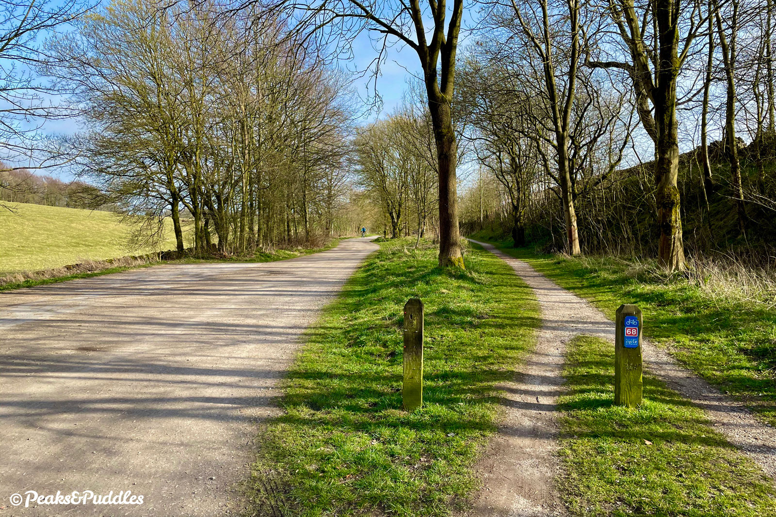 Joining the High Peak Trail at Hurdlow, there are separate paths around the side of the car park: you can ride any way, they all join up later.