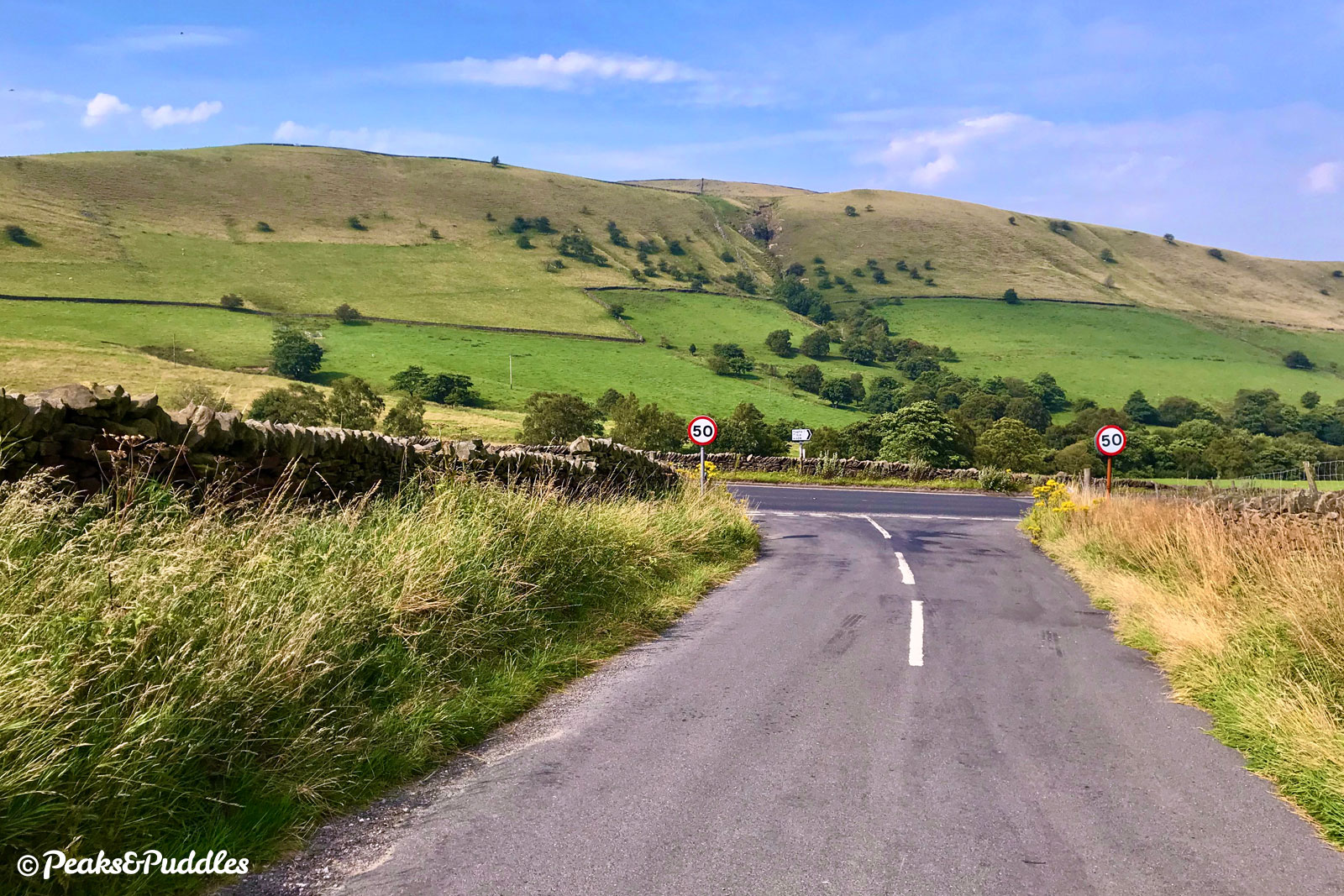 (A624 option) Approaching the A624 from Highgate Road, Chinley Churn now looms large.