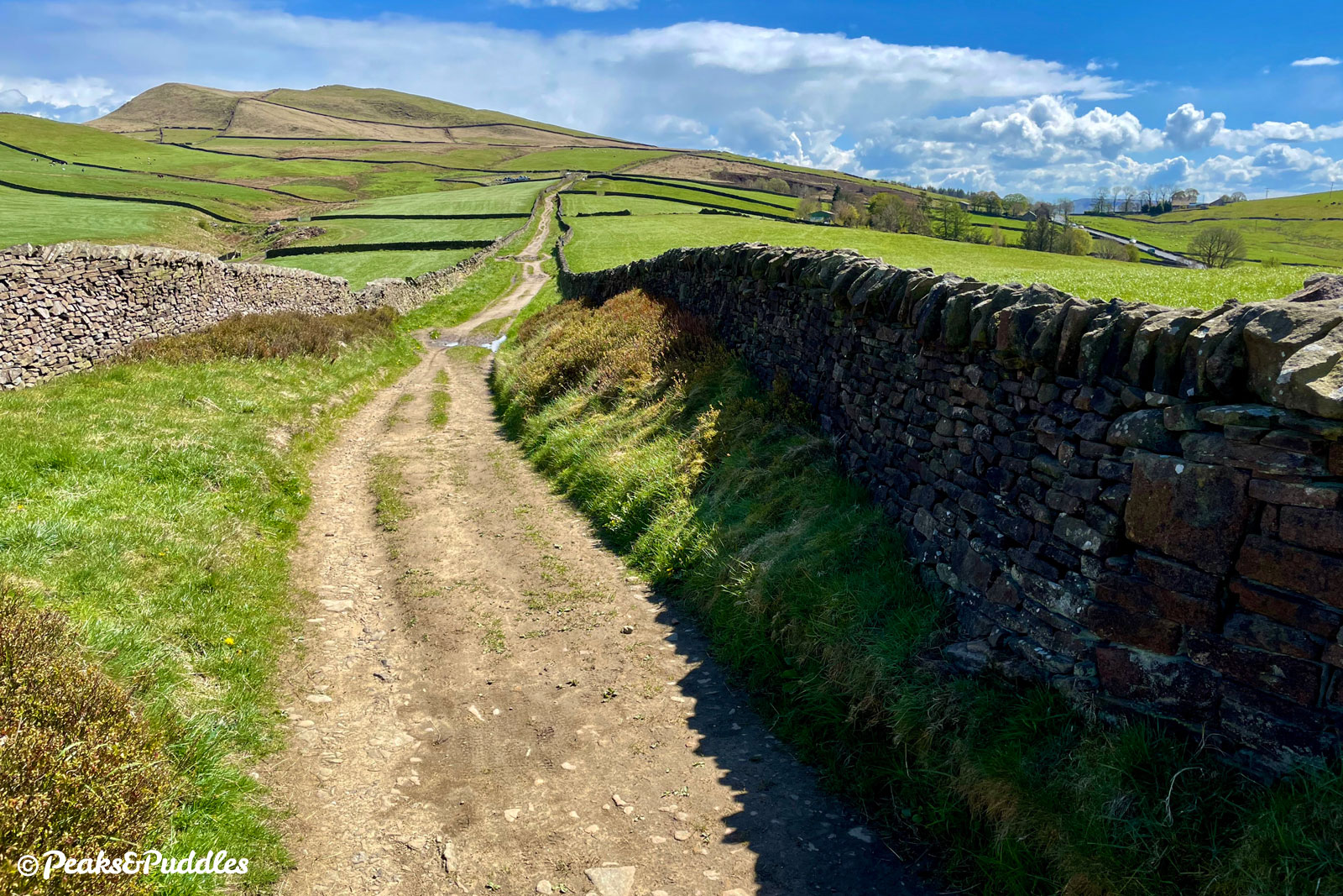 (Bridleway option) As the deserted bridleway stretches away to the foot of Mount Famine, the busier A624 can be seen top right.