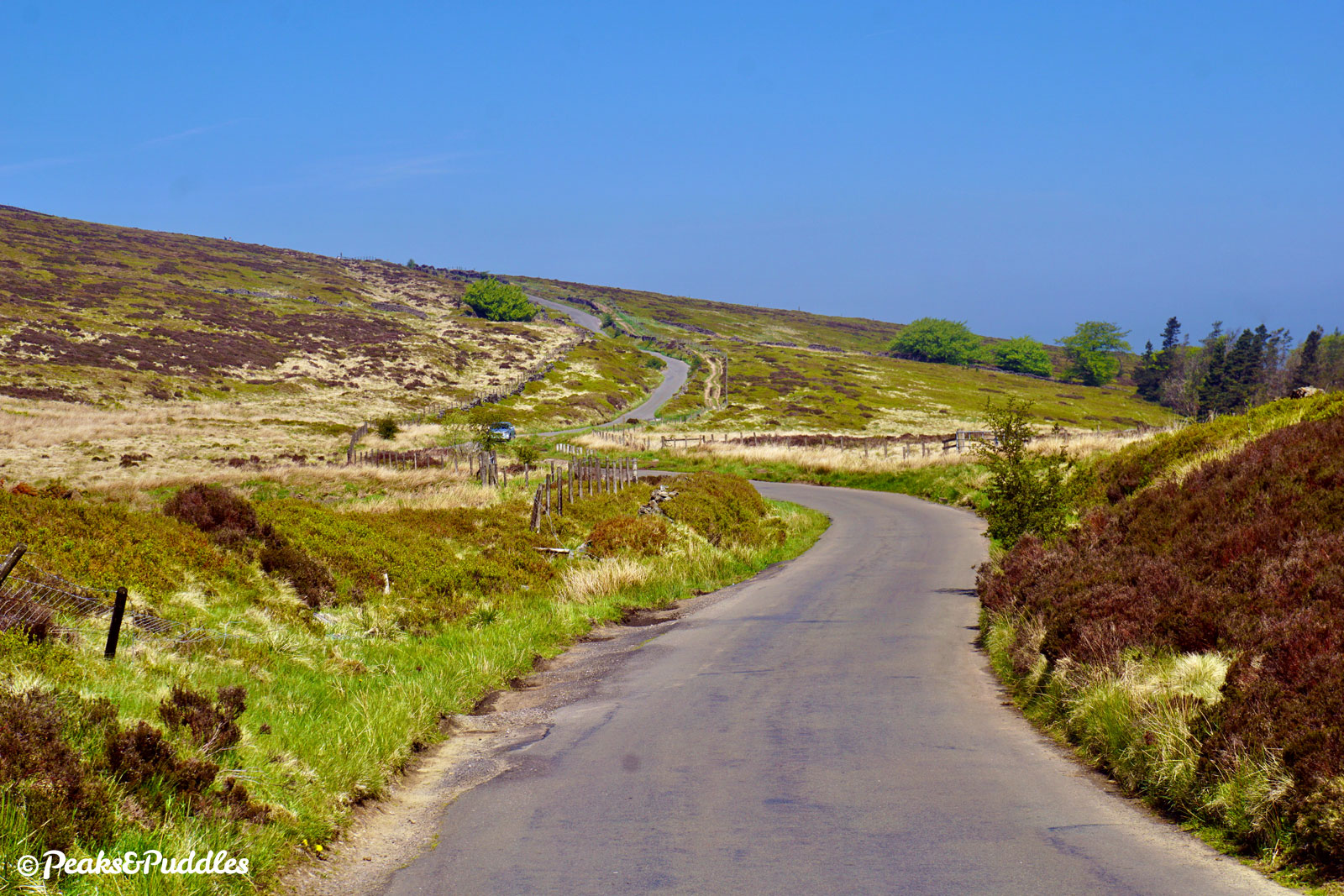 Nearing the top of The Street, Embridge Causeway crosses the open moors towards the summit of Pym Chair.