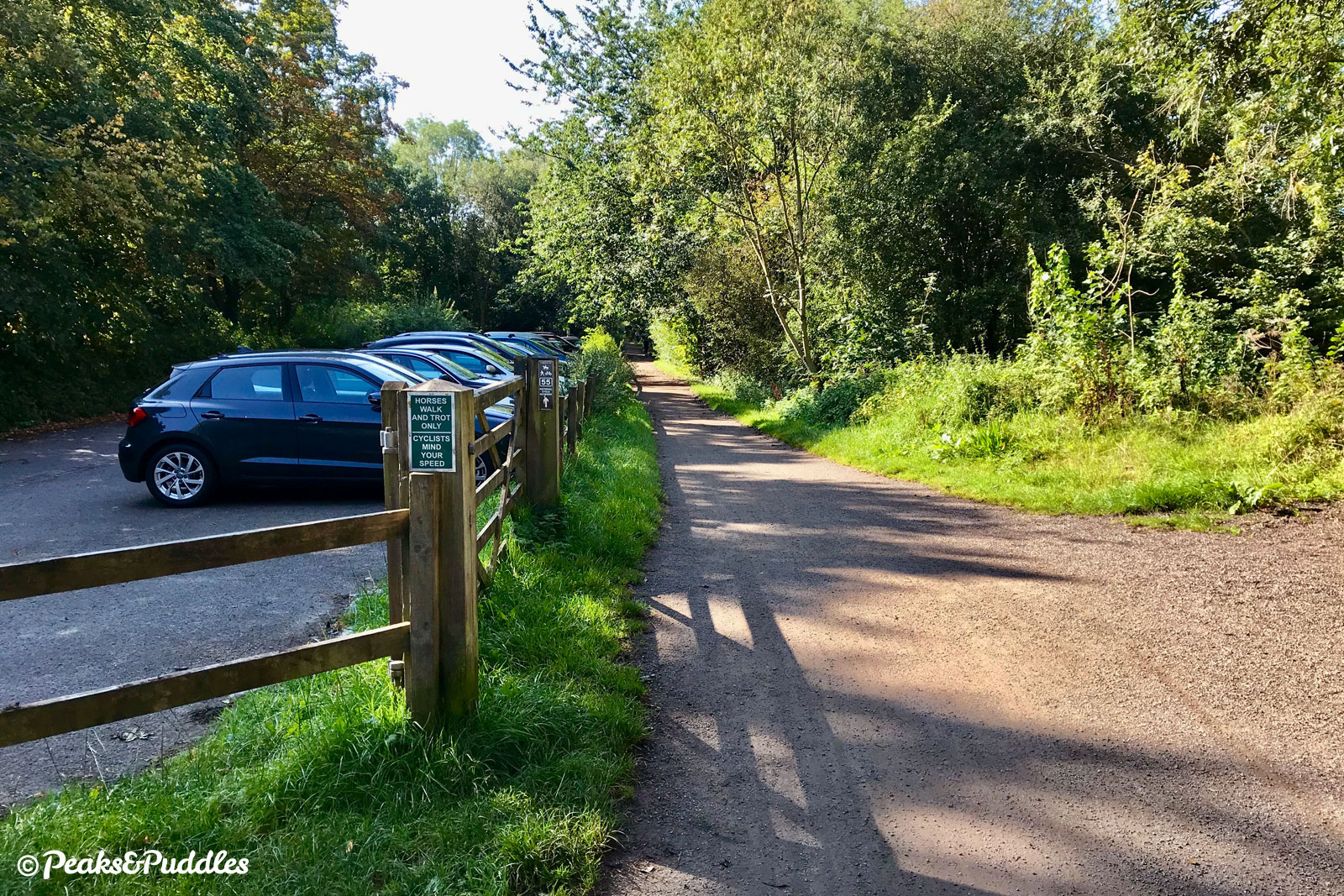 Passing the Middlewood Way car park at Poynton Coppice, off Shrigley Road.