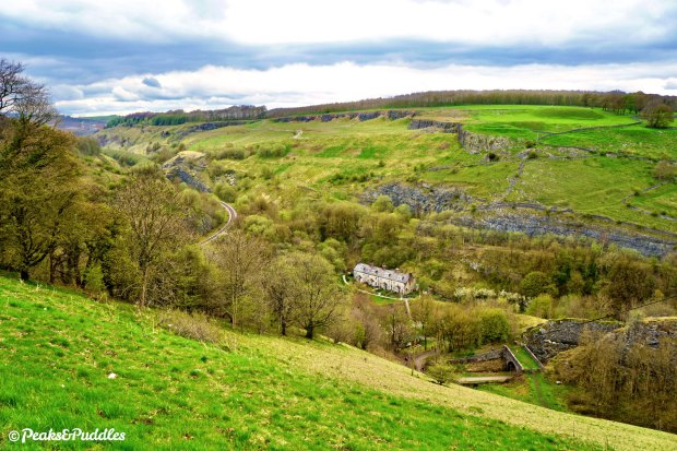High above Monsal Trail, a lay-by on the A6 offers this stunning view over Blackwell Mill, showing the remaining Great Rocks quarry line curving around one side of what was once a large triangular junction surrounding the cottages. The trail is bottom right.