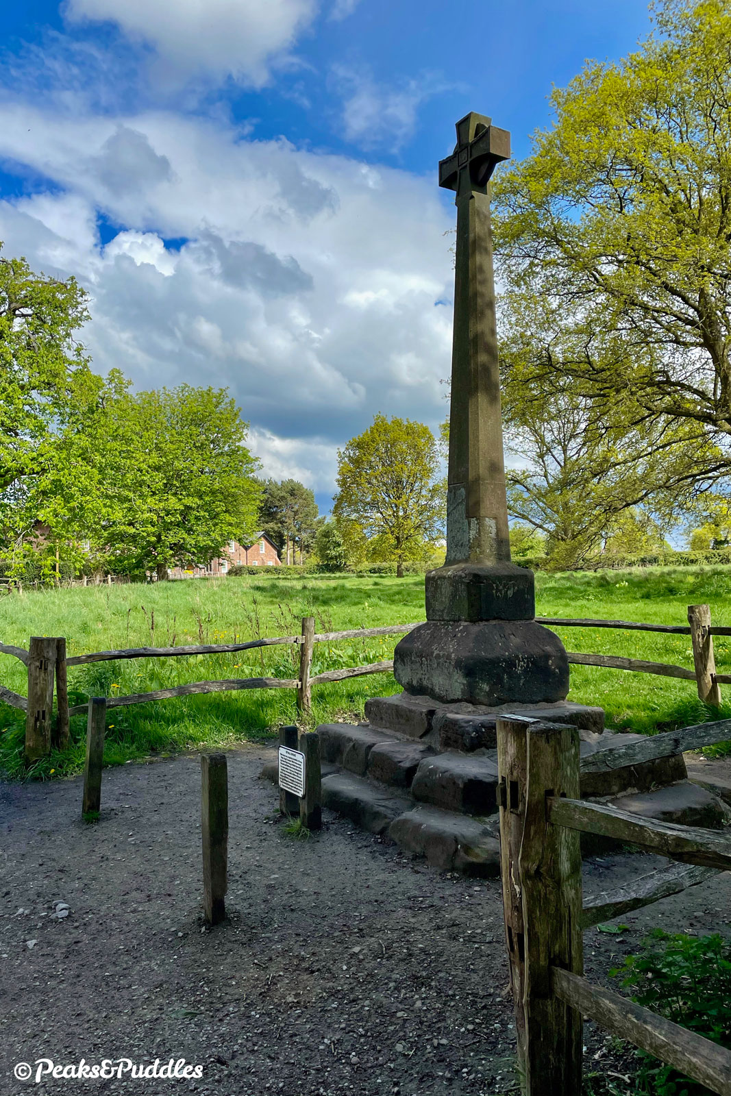 Styal Cross was only recently restored and re-sited here to stand at the heart of the village, having been moved from one farm to another and demolished in a car accident...