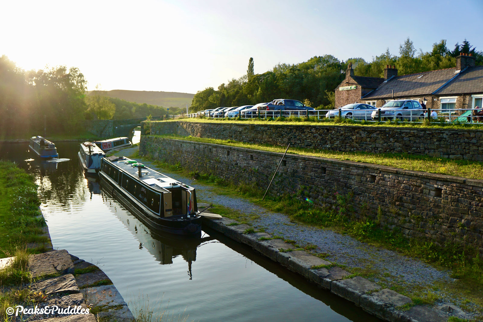 Beside the Navigation Inn at Bugsworth Basin, the Peak Forest Canal comes to a very definite end.