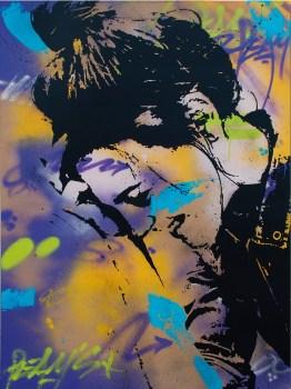 la mysterieuse se dévoile est une peinture streetart par peam's streetartiste et artiste urbain