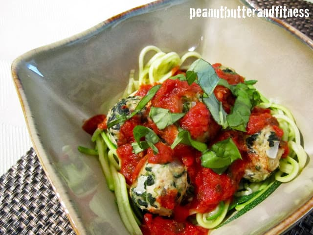 Turkey Spinach Meatballs with Zucchini Noodles