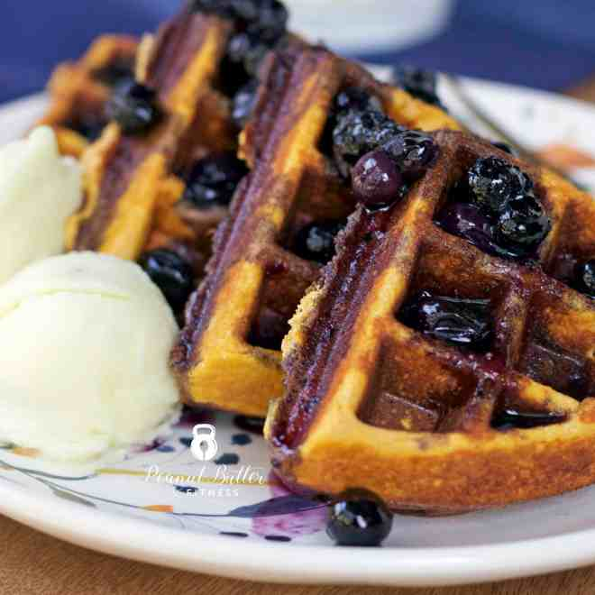 Paleo Sweet Potato Protein Waffles with Blueberry Compote
