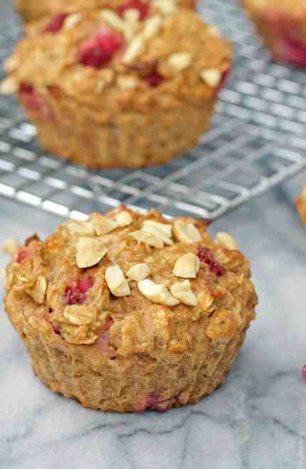 Strawberry Peanut Butter Oatmeal Muffins