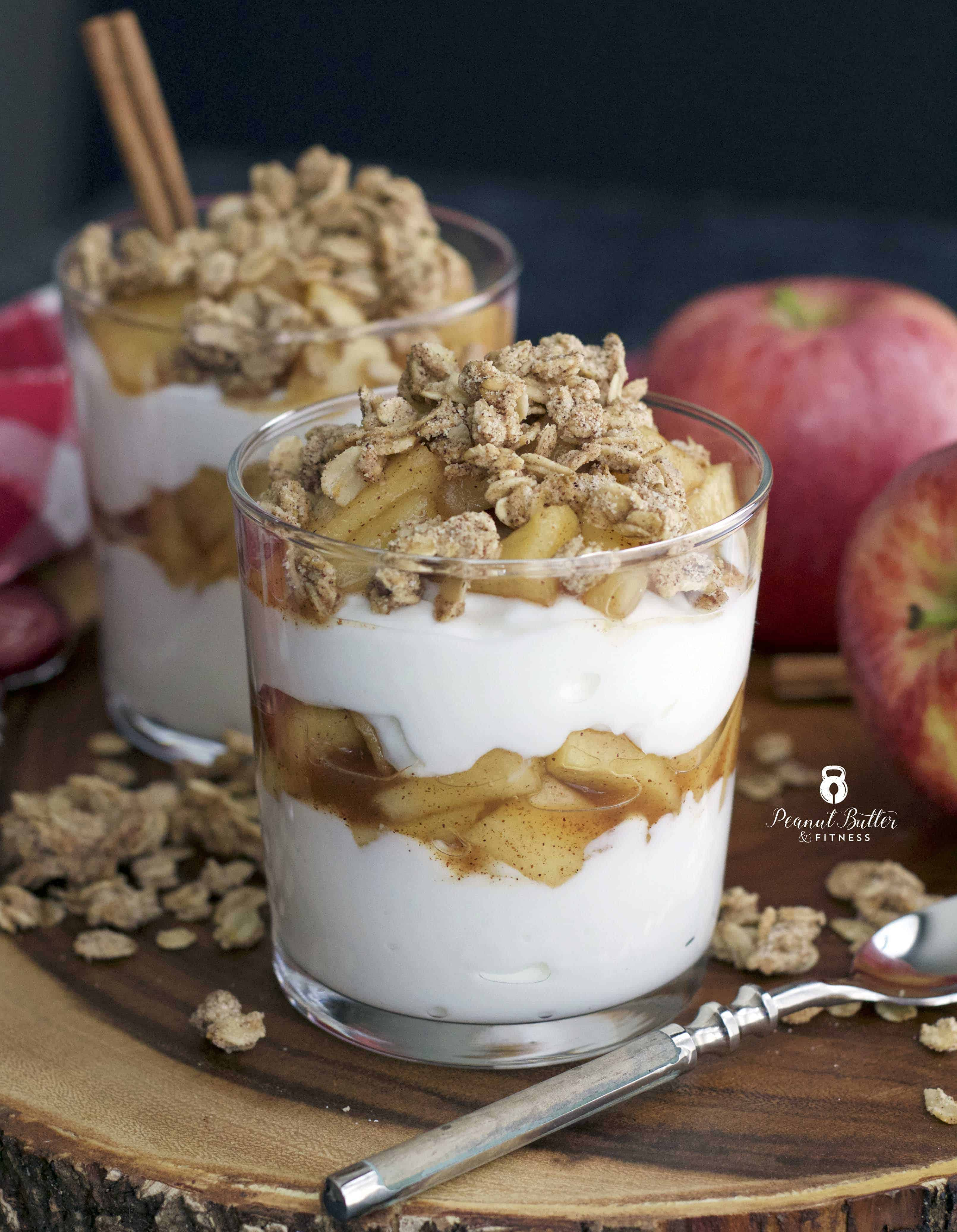 Apple Cinnamon Greek Yogurt Parfait With Granola Peanut