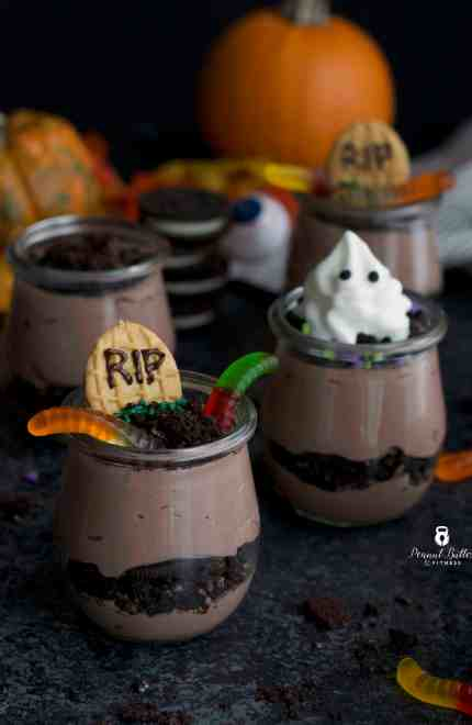 Halloween Protein Pudding Dirt Cups