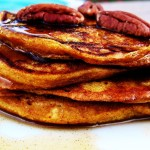 Pumpkin Pancakes with Cinnamon Maple Syrup
