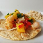 Shrimp Tostada, Virgin Pina Colada and Coconut Rice