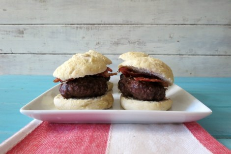 Bacon Burger Sliders on Homemade Rolls