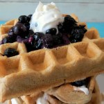 Whole Wheat Waffles with Warmed Blueberry Topping