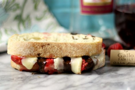 Berry Chocolate Panini Sandwich with Wine Reduction Sauce