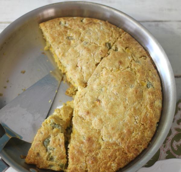Jalapeno Cheese Cornbread in Skillet