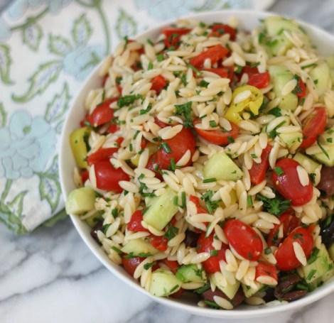 Greek Orzo Pasta Salad #createwithcrisp