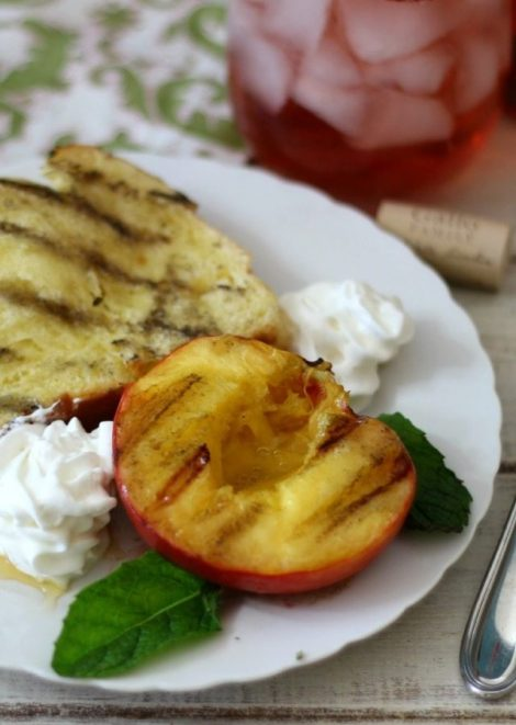 Grilled Peaches with Brioche #SundaySupper