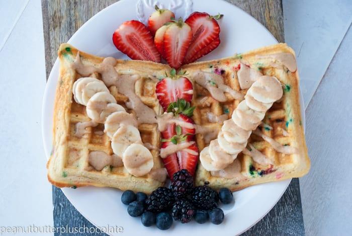 Funfetti Protein Waffles {Low Carb + Low Fat}