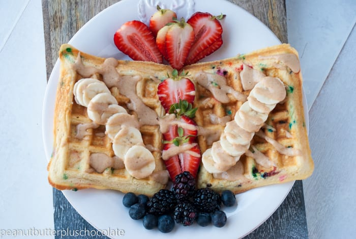 Funfetti Protein Waffles {Low Carb + Low Fat}
