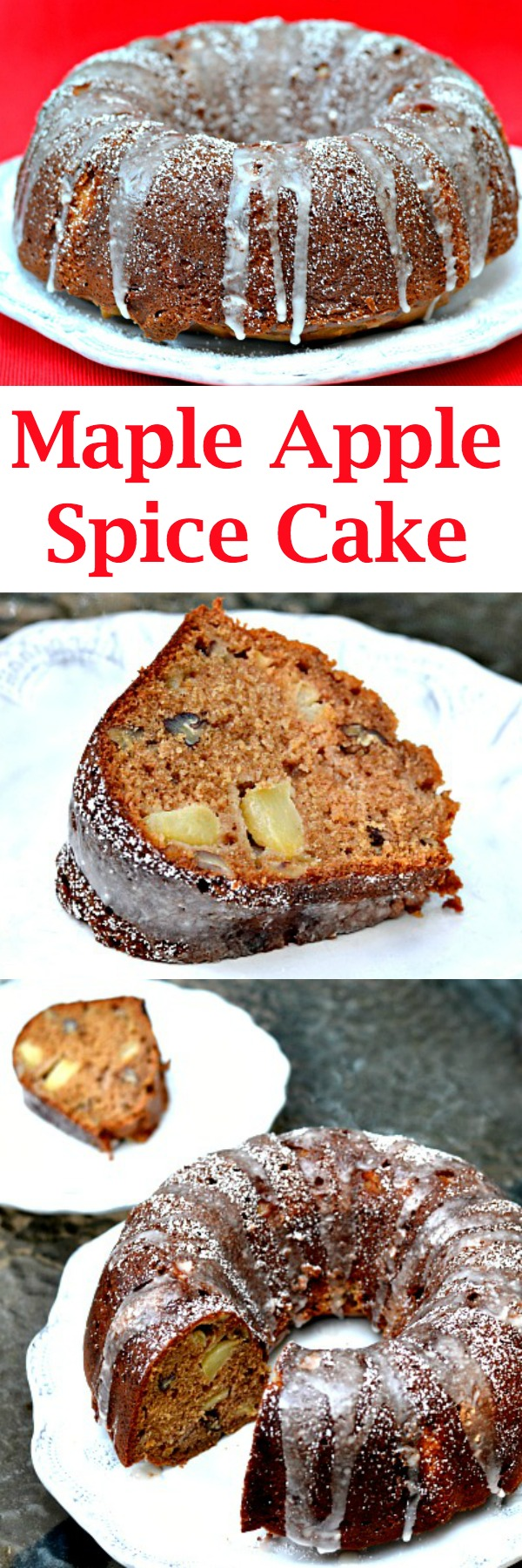 This Maple Apple Spice Bundt Cake is packed with fresh apples, warm spices and sweetened with a blend of brown sugar and maple syrup for the ultimate fall treat.