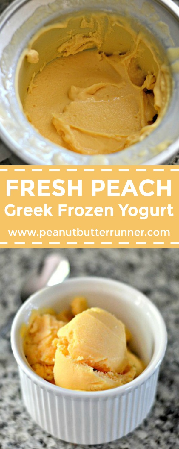 Fresh peach frozen yogurt made with Greek yogurt for a light and refreshing summer treat. Just four ingredients!