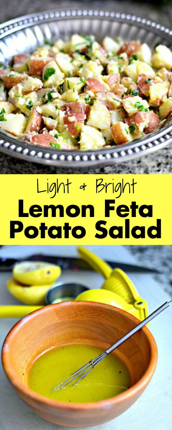 This Lemon Feta Potato salad features a lemon vinaigrette instead of mayo which results in a light and brightly flavored potato salad that can be served warm or chilled.