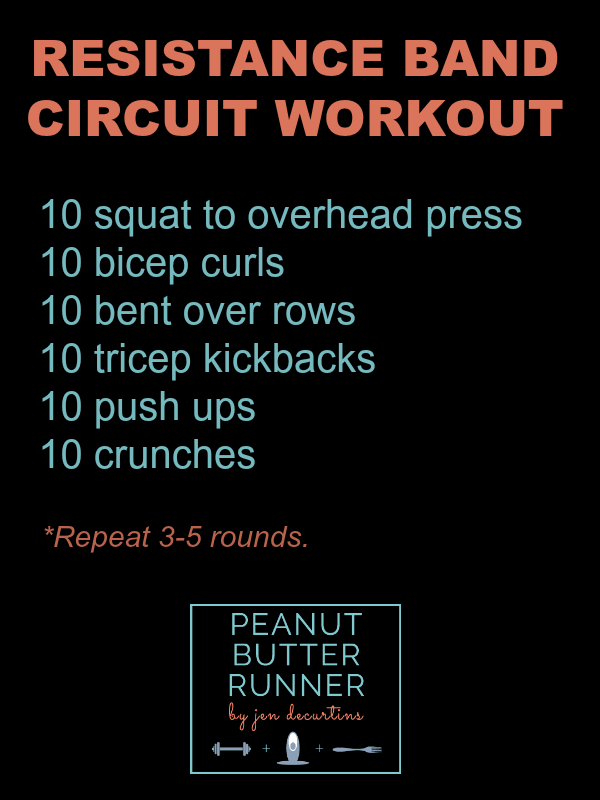 resistance band workout from peanut butter runner