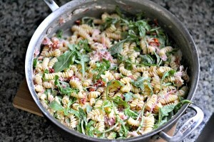 Proscuitto and goat cheese pasta