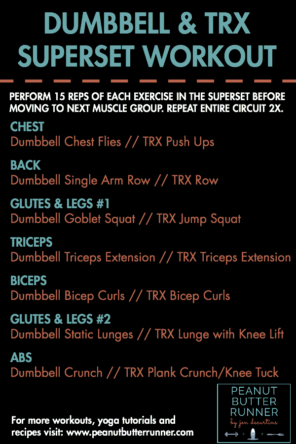 A total body workout that combines dumbbell and TRX exercises
