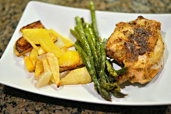 Bone-in, skin-on chicken breasts seasoned with Dizzy Pig Mediterranean-ish and Shakin' the Tree (just like the breast above) with roasted asparagus and roasted parsnips, turnips and rutabaga.