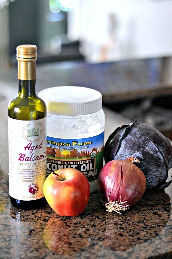 Braised red cabbage ingredients.