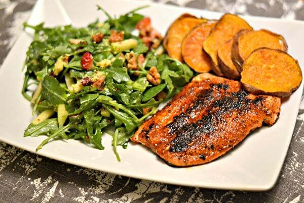 Blue Apron BBQ Spiced Salmon and Roasted Sweet Potato Rounds with Arugula, Apple and Walnut Salad
