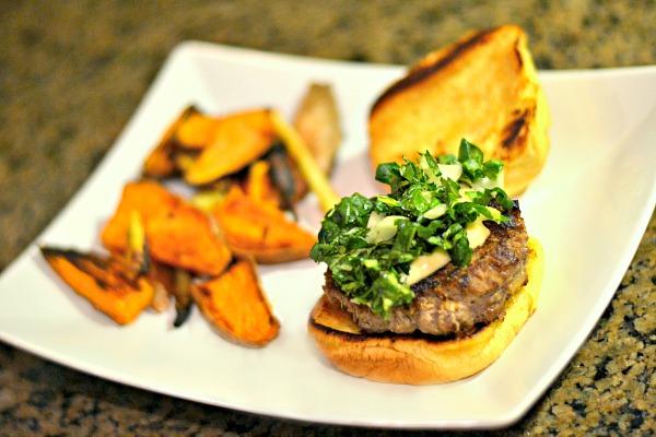 Blue Apron Hoisin and Shitake Burgers with Miso Mayonnaise and Roasted Sweet Potato Wedges