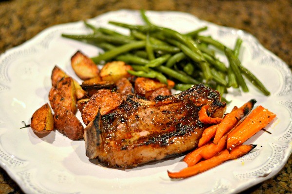 Bone-in pork chop cooked in a cast iron with Dizzy Pig Red Eye Express
