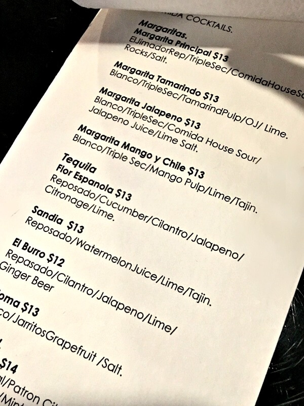 Drink list at Comida in Charlotte