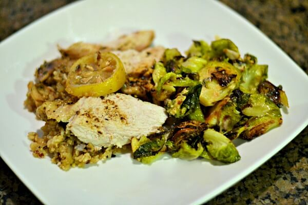 Greek Chicken and Rice with Roasted Brussels Sprouts